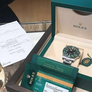 Rolex Green Submariner Date Stahl 40mm Steel Watch 100%new購自瑞士BUCHERER名錶滙特別版綠圈 綠魔鬼 綱帶手錶
