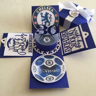 Chelsea explosion Box With Cake & 4 Personalized Photos in  Navy & whiten
