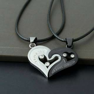 """2 in 1 Couple Chain """"I Love You Heart"""" Pendant Necklace"""