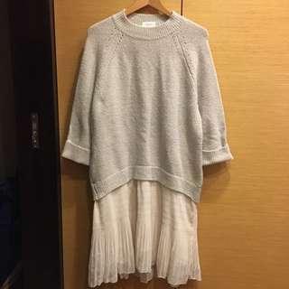 韓貨 毛衣粉杏色連身裙