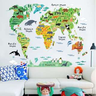 Large World Map with Animals/ Children/ Nursery/ Bedroom/ Living Room World Map/ Wall Decal/ Sticker/ Art/ Decor/ Mural/ Wallpaper Stencil Design/ Instant Makeover/ Geography Flags Architecture / Home Decor/ Water Resistant Removable