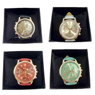Geneva Leather Quartz Wrist Watch With Watch Box#SpringClean60