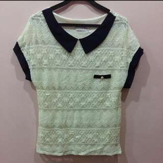 Cream Colour Crochet Lace Top
