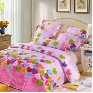 High Quality Cotton Patchwork 3 Pcs Bedsheet Pink Heart Design (Pre-order)