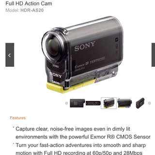 Sony Action Cam HDR AS20 - New
