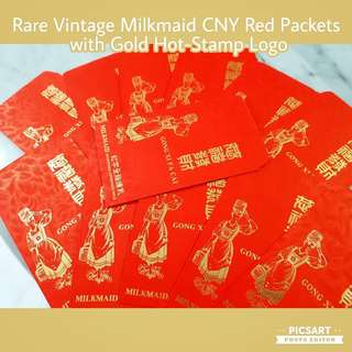 Vintage Chinese New Year Red Packets by MILKMAID with Gold Hot Stamp motif and Logo. Good Condition, Clear image and colour. Unused. Each $10 Offer. Sms 96337309 for Fast Deal.