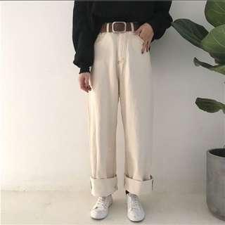 寬鬆 高腰 米色 長褲