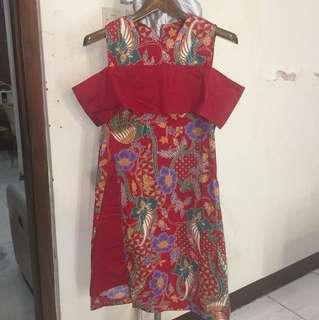 Dress batik merah bahan strech fit to M -XL