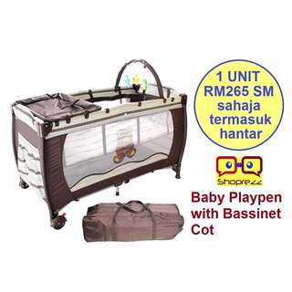 Baby Playpen with Bassinet Cot