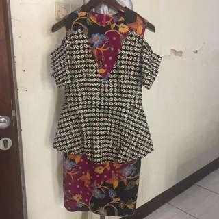 Dress batik sabrina bahan strech fit M to L