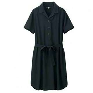 Uniqlo Rayon Short Sleeve Dress In BLACK in S