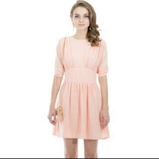 Tuulla French Flare Dress In Soft Pink (M)