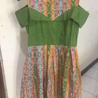 Dress batik sabrina corak tenun ukuran L