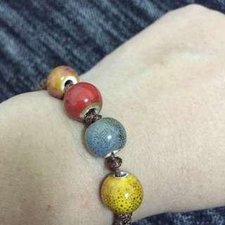 含運~陶瓷彩珠不褪色手鍊