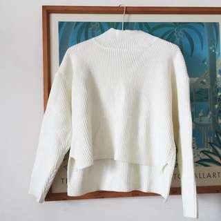 🚚 厚實小開衩立領針織上衣 針織毛衣 米白