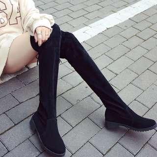 絨布超修身過膝長靴