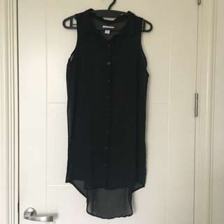 Cotton On Black Sheer Shirtdress