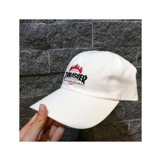 Huf x Thrasher 美牌聯名老帽 潮牌 帽子 白色