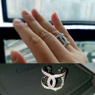 [NEW] CHANEL rhinestones CC logo adjustable ring 勁閃 白色閃石 戒指 介指 全新