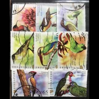 Singapore 2007 birds stamps used 8 values