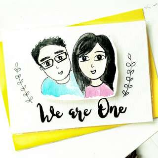 Customized Cartoon Couple Portrait For Birthday Wedding Anniversary Valentine  Graduation Baby Shower Congratulations  Watercolour Brushlettering Calligraphy Cards