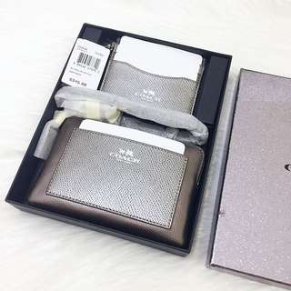 Coach Wristlet Pouch + Card Case In Leather