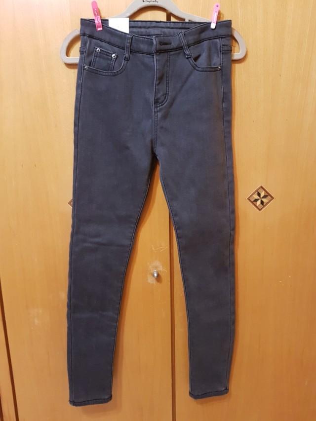 全新韓版加絨厚高腰牛仔褲,黑灰色,27腰