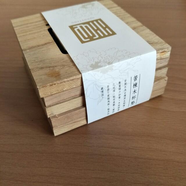 全新苦楝木杯墊5個,木頭原色,每片都不同