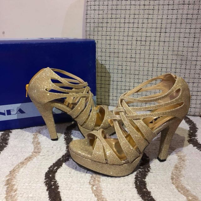 5 inches Gold Heels Ladies Sandals