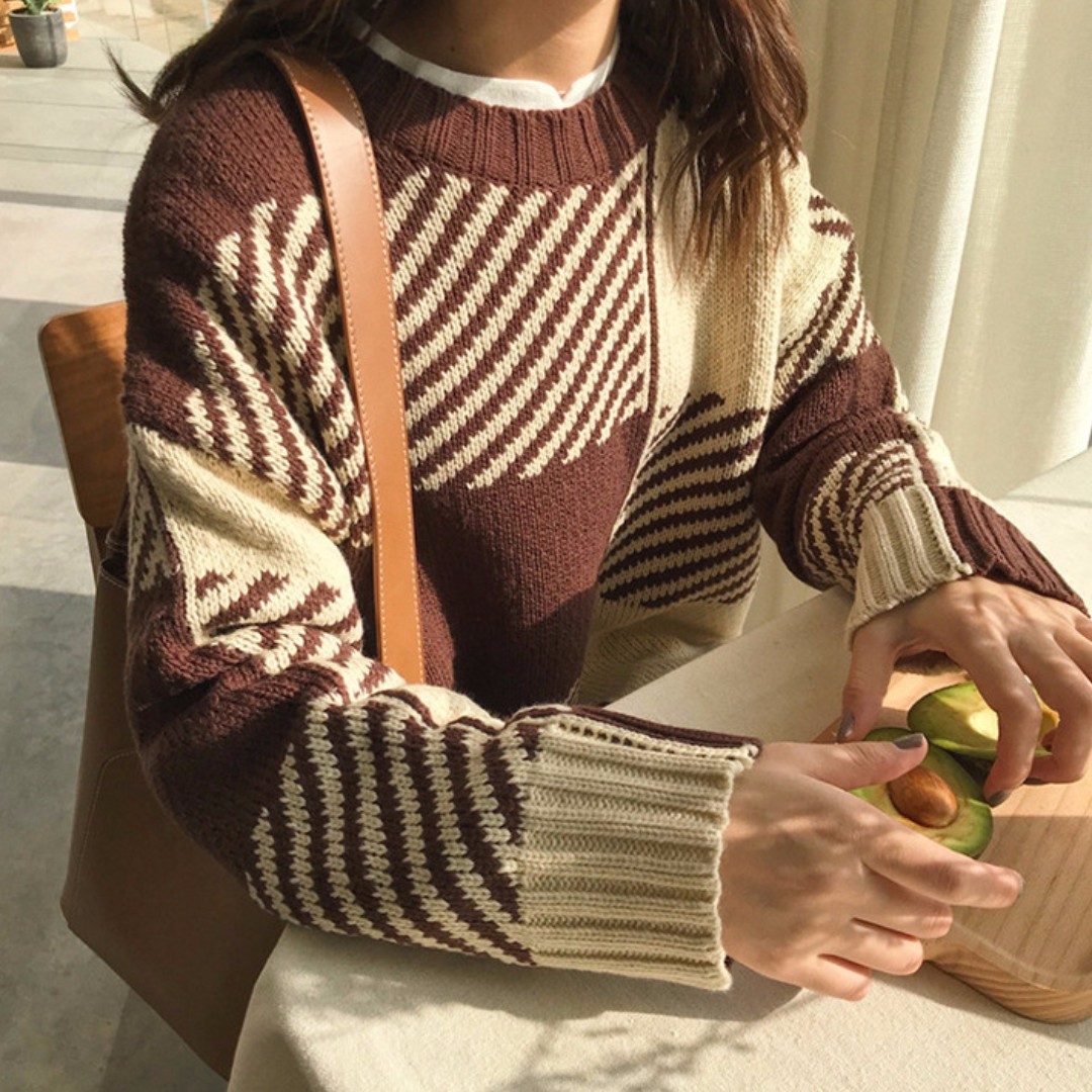 【現貨】拼色條紋針織毛衣