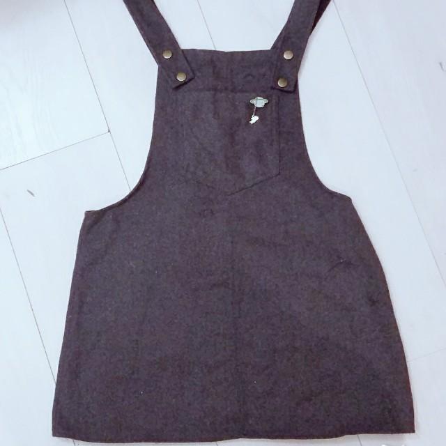 童趣可愛灰色毛呢前口袋吊帶裙