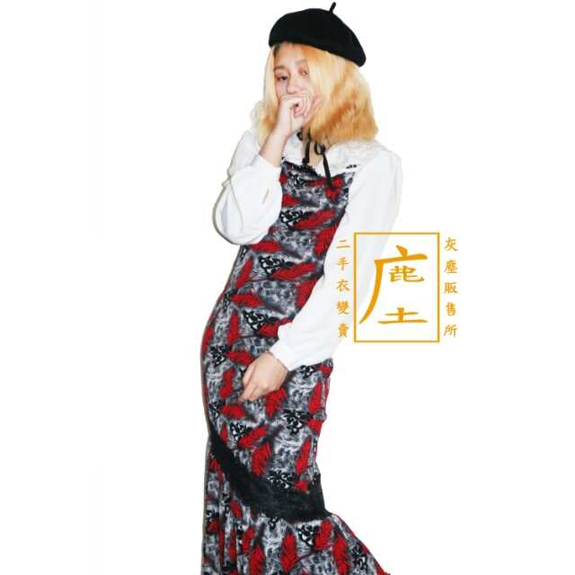 酒紅落葉蛋糕裙襬細肩長洋裝 [鹿庄]