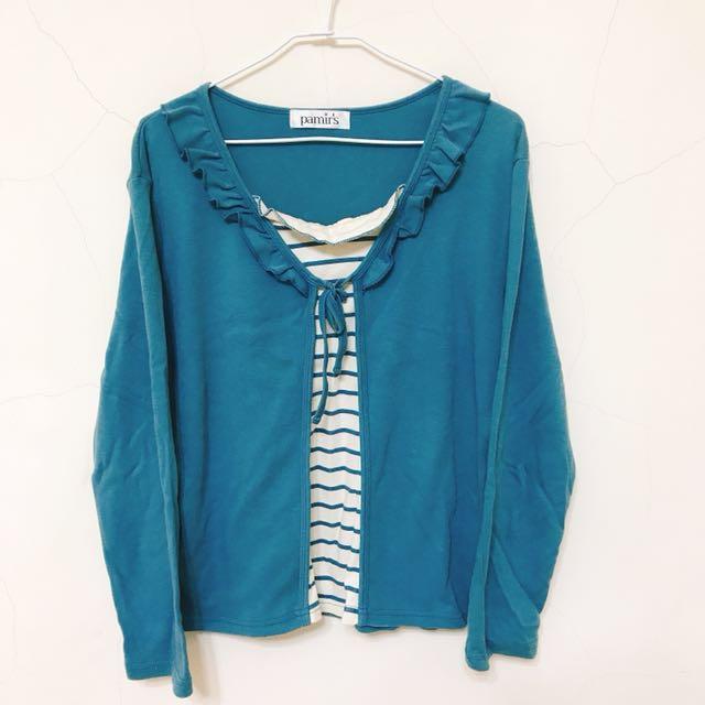藍綠色假兩件上衣 #有超取最好買