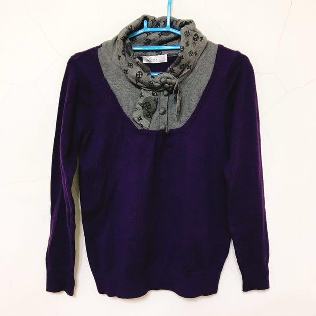 紫色假兩件針織毛衣 #有超取最好買