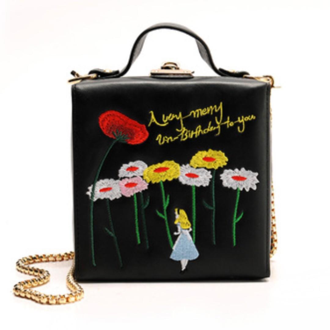 愛麗絲夢遊仙境 箱型盒子 肩背包