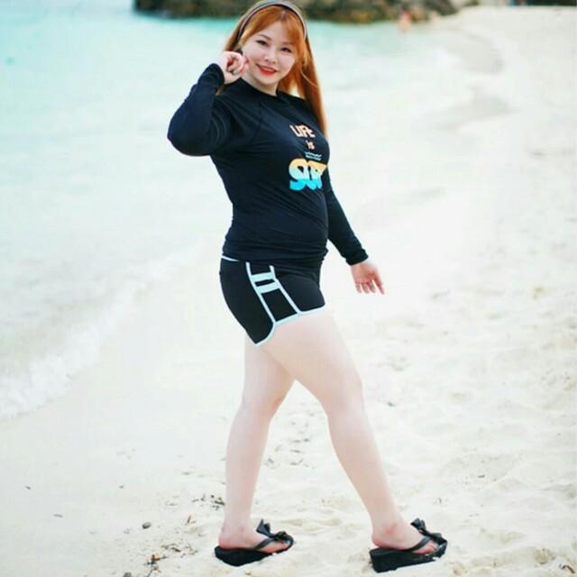 現貨韓版休閒大尺碼兩截式泳裝大碼泳衣 大碼褲子泳衣 溫泉泳裝長輩泳衣