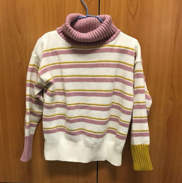出清 近全新 高領條紋針織毛衣 粉黃條紋