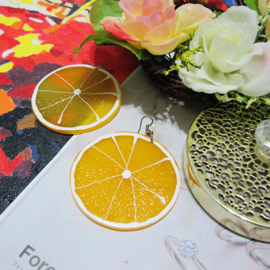 柳丁切片耳環 柳橙 橘子 壓克力 擬真 水果