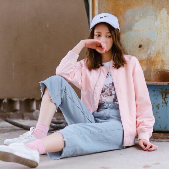 現貨 百搭粉色飛行外套 薄外套 棒球外套 防曬外套 流行 #有超取最好買