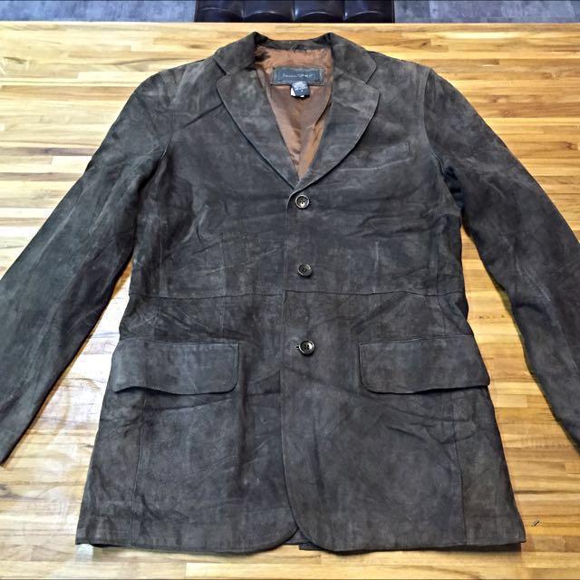 《古著》降價清衣櫃 Banana Republic 麂皮西裝外套 皮衣