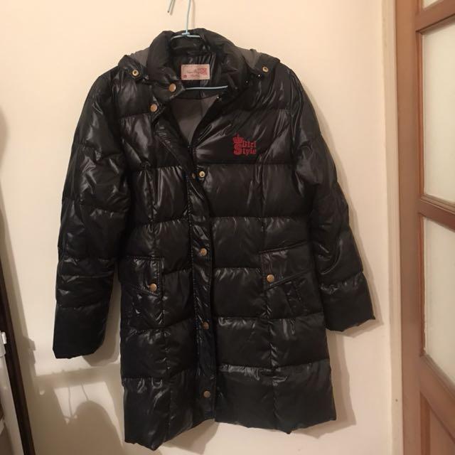 全新 New boy 黑色長版 羽絨外套 大衣 連帽 風衣