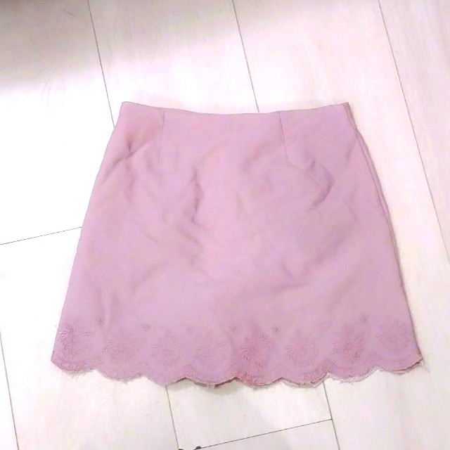 Air space唯美刺繡粉紫色半身裙