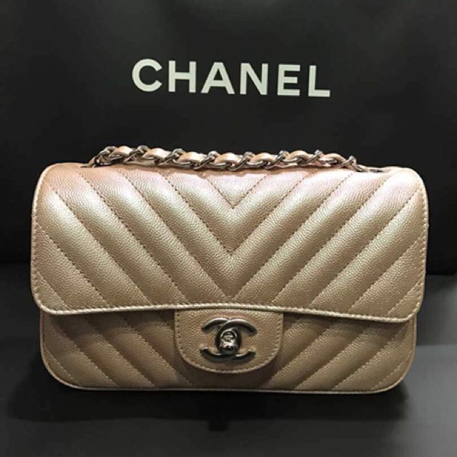 Authentic Chanel rose gold iridescent mini flap bag de99eeda514d0