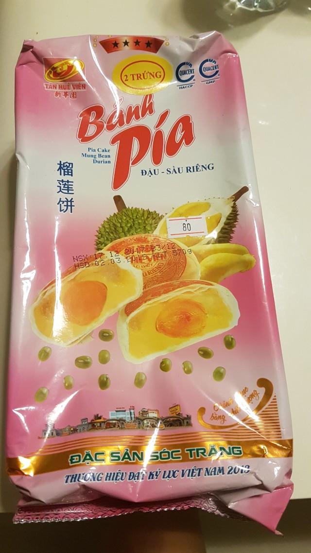 Banh Pia Pia Cake Mung Bean Durian Left 1 Packet Food