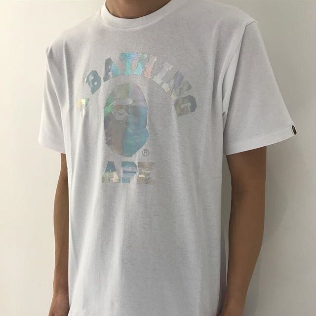 05ab1fcc4 BAPE HOLOGRAM COLLEGE TEE, Men's Fashion, Clothes on Carousell