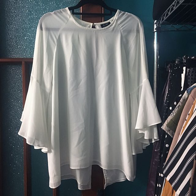 Bardot White Flared-Sleeve Top