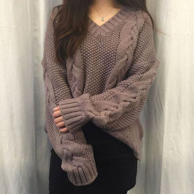 BLACK !! Cable twist knit pullover sweater
