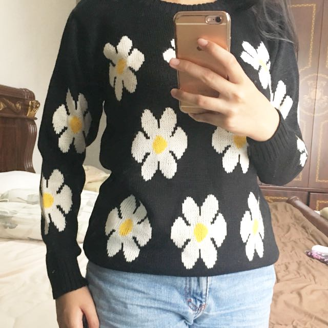 Black Daisy Sweater