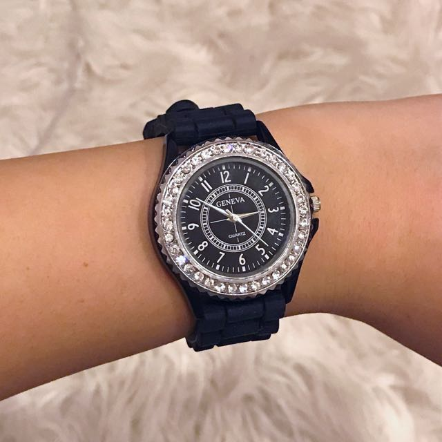 Black Silicone Watch with Rhinestones and Silver Hardware