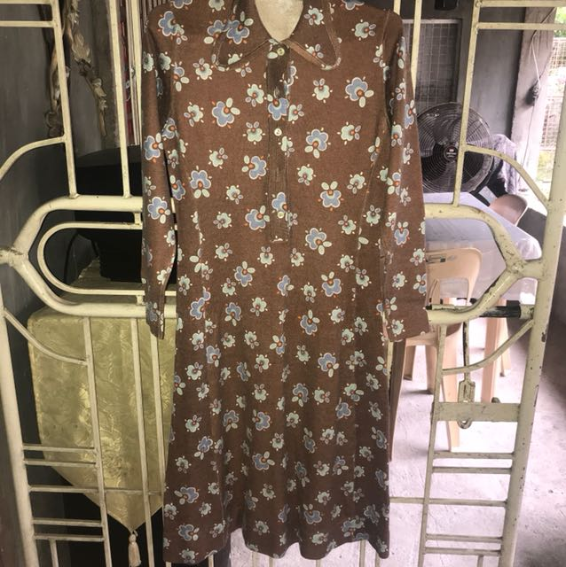 Brown Floral Dress Longsleeve